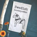 Handduk - Swedish horsepower (30x50), Svart / Vit